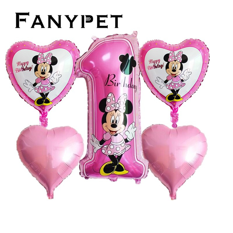 5pcs Happy birthday Decoration Balloon Mickey Mouse 18 inch Star Foil Number..