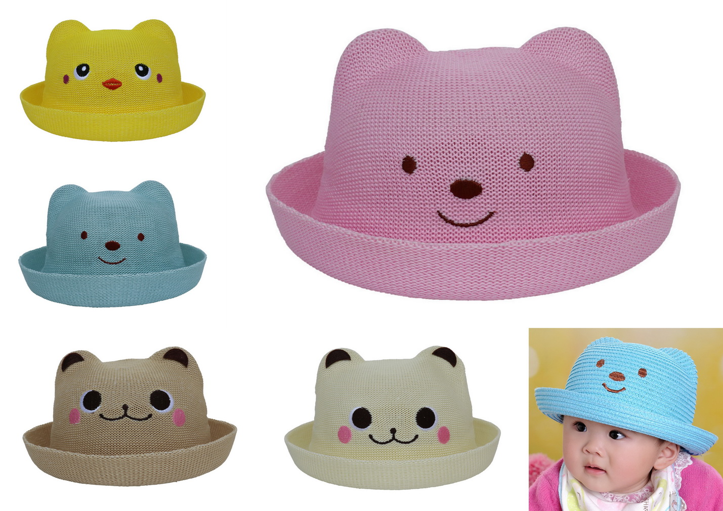 COMVIP Children Cartoon Animal Roll Up Brim Sun Cap Straw Hat