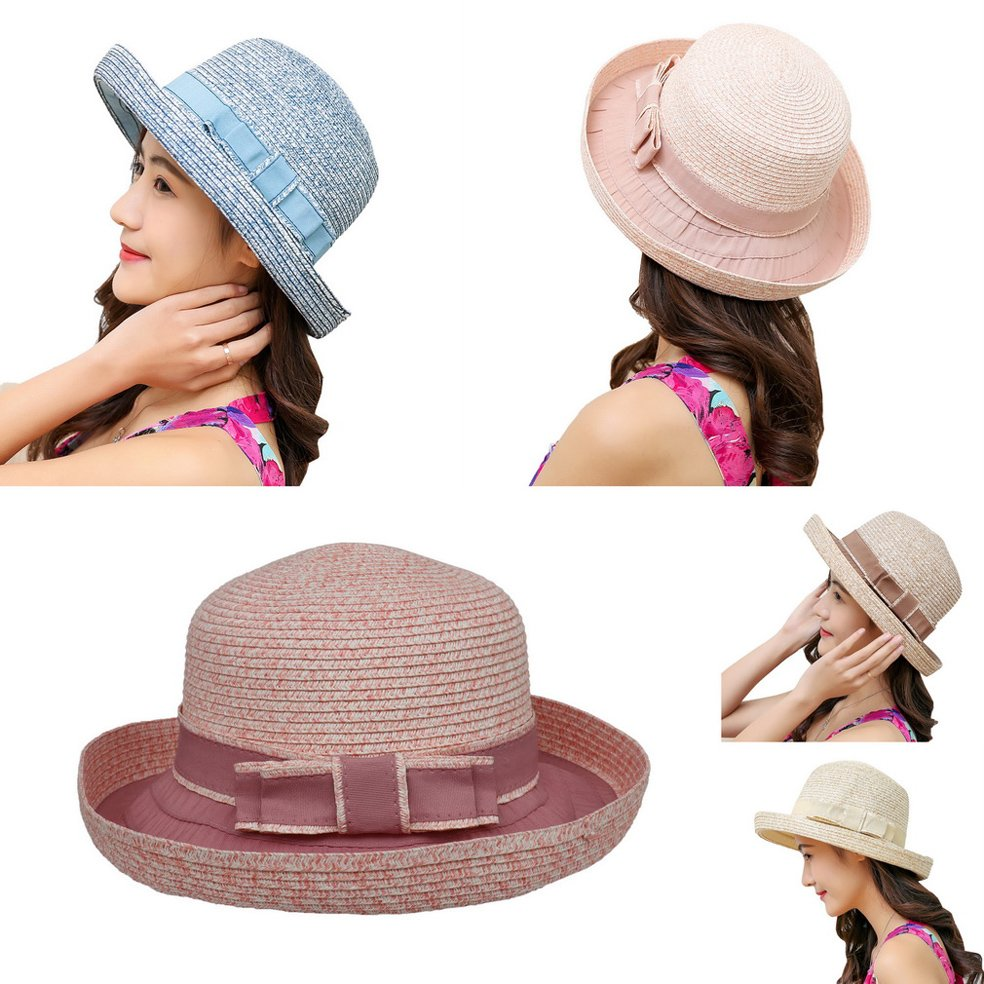 COMVIP Children Girls Bowknot Straw Summer Beach Party Cute Sun Hat