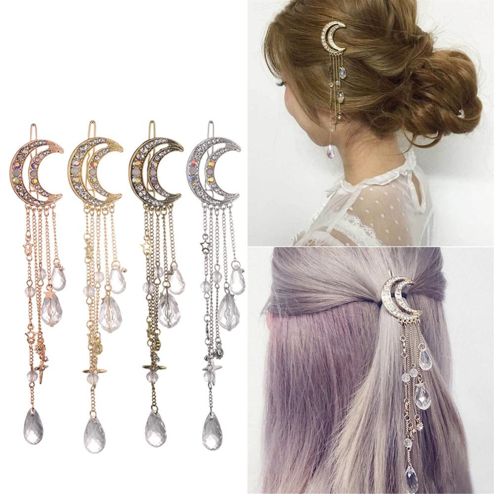 Wholesale Moon Rhinestone Beads Dangle Hairpin Hair Clip Women Bridal Jewelry