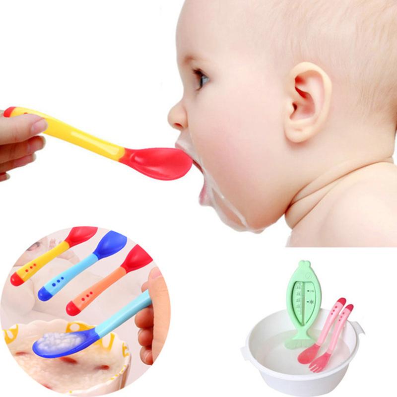 3Pcs Baby Silicone Spoon Soft Head Spoon Set Infant Temperature Sensing Feeder