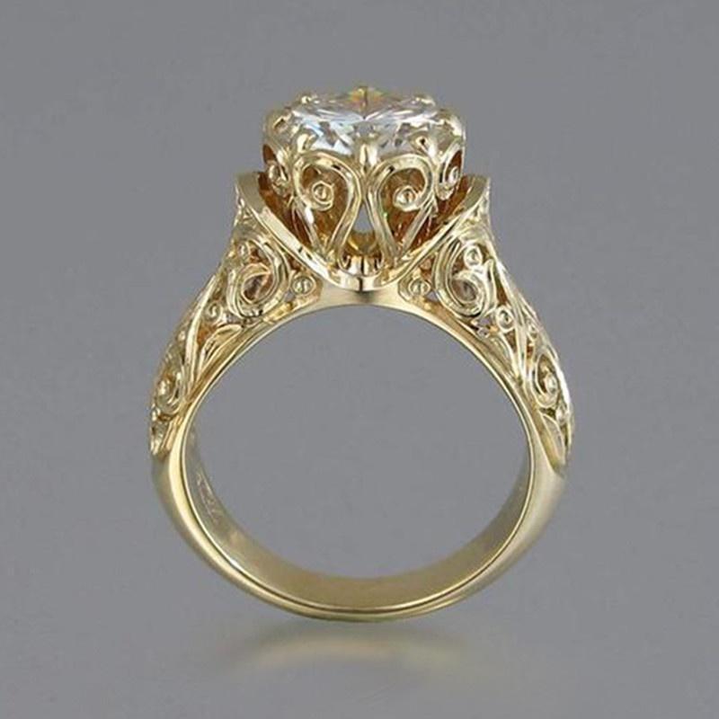Luxury Women Silve Plated Rose Gold Jewelry Wedding Ring White Gemstone Sz 6-10