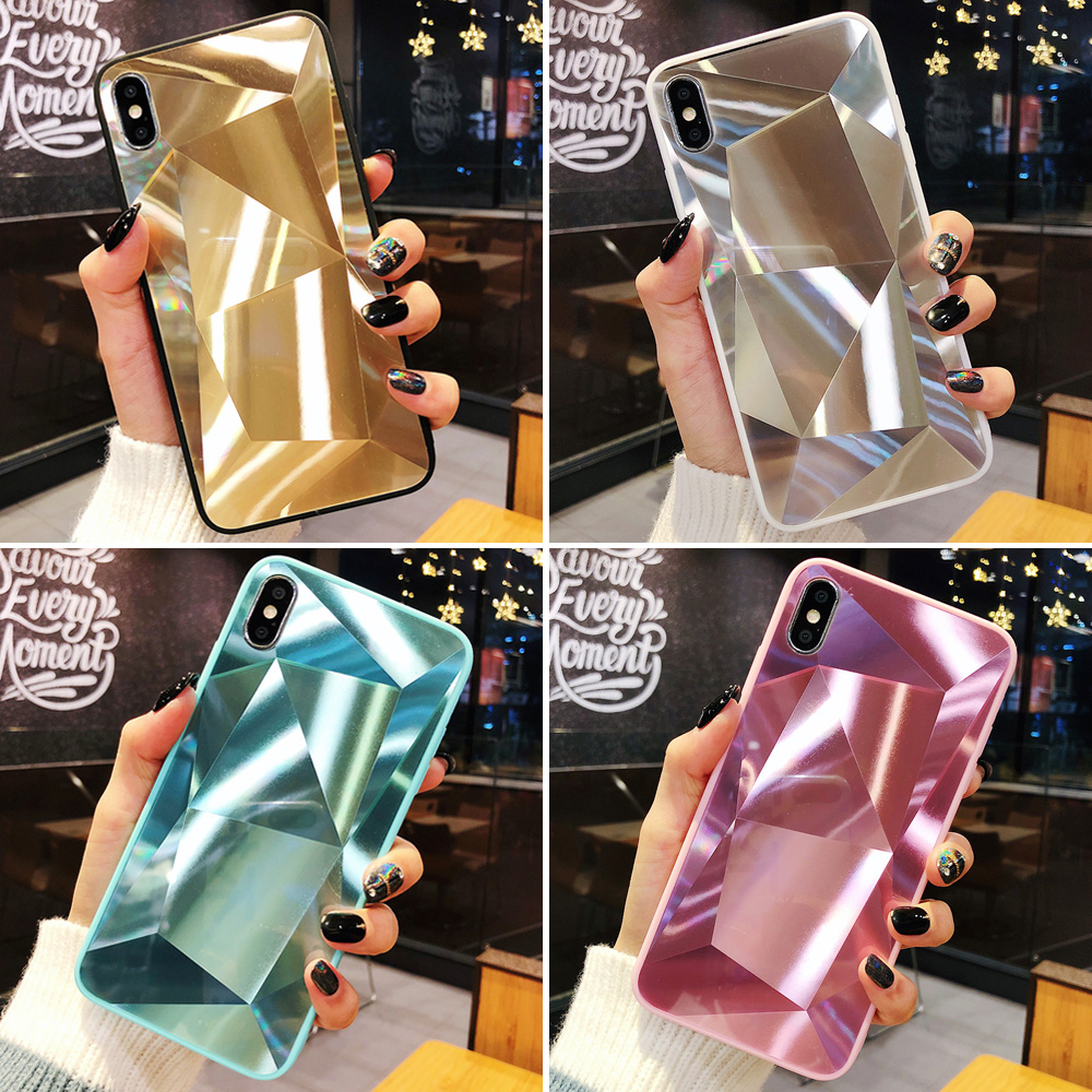 3D Diamond Phone Case for iPhone X XR XS Max Cases Holographic Prism Gradient Cover for iPhone 6S 7 8 Plus Fundas,Pink,for iPhone XR