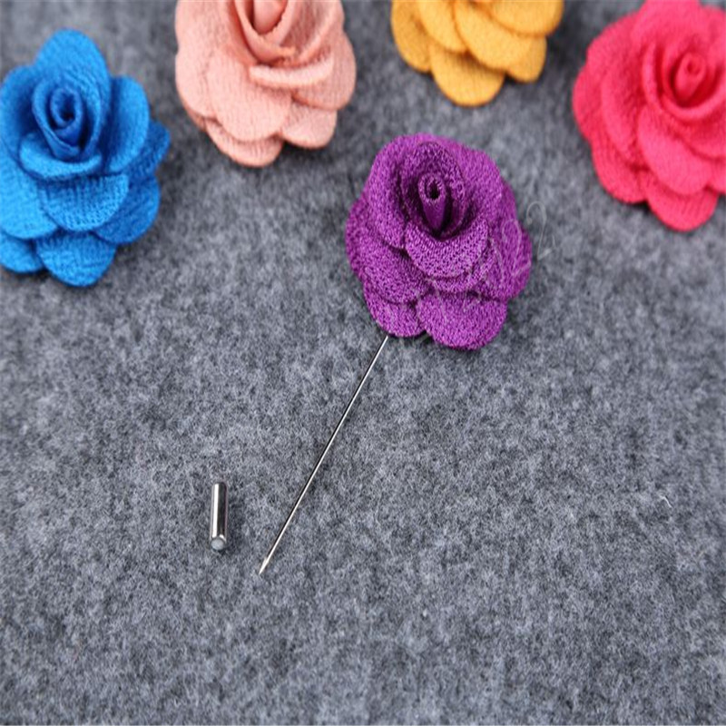 Lapel Silk Rose Flower Daisy Handmade Boutonniere Stick Brooch Pin Men Accessory
